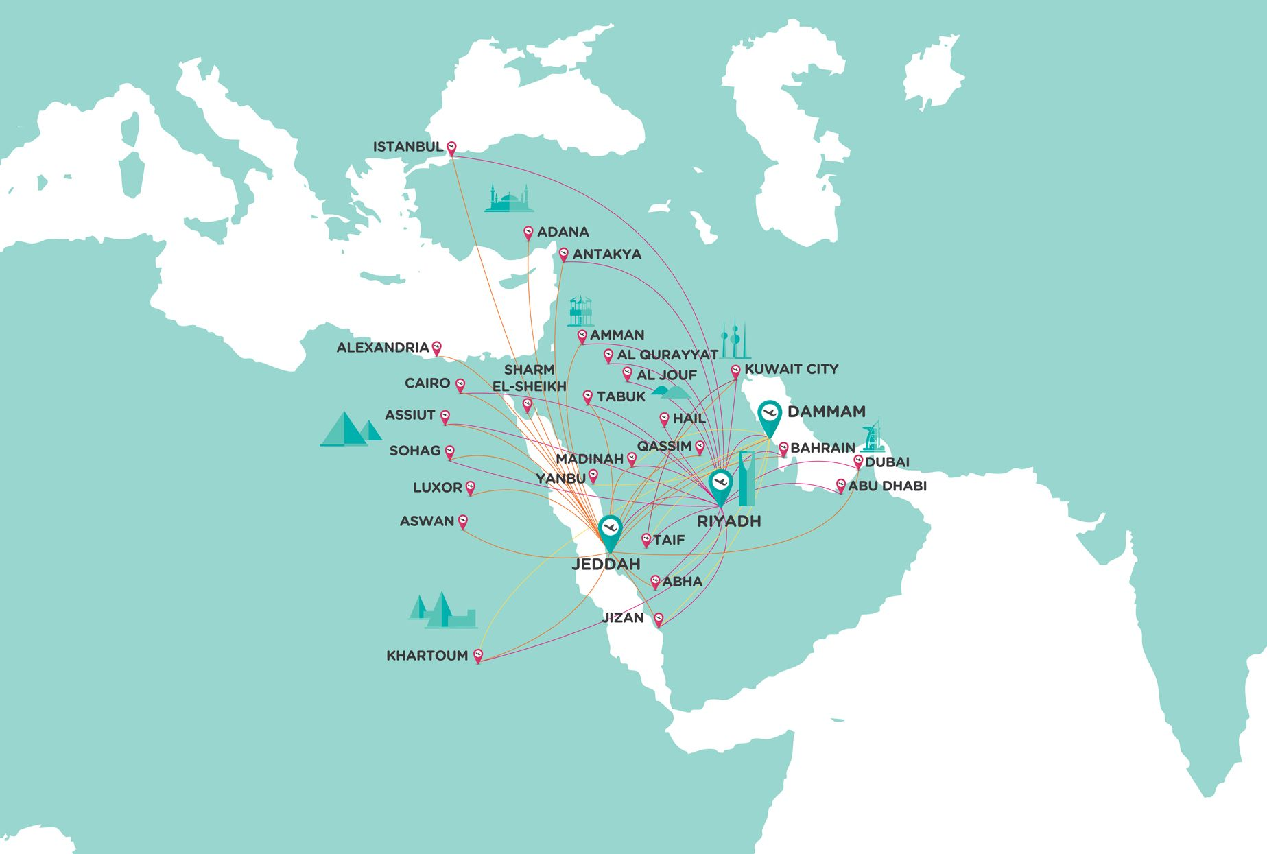 flynas Route Map Feb16 E c